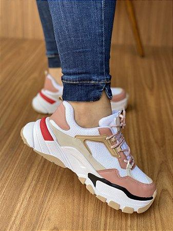 Tênis Sneaker Branco/Rosê S5440