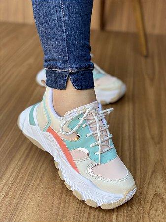 Tênis Sneaker Off White/Goiaba S5450