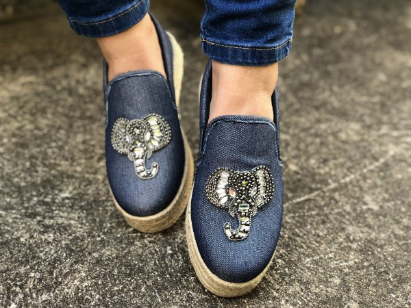 Slip On Jeans Strass Elefante