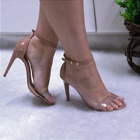 Sandália Salto Fino Caramelo Fivela