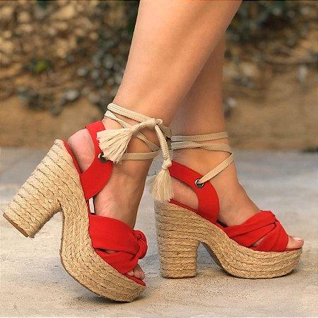 Sandália Vermelha Amarração