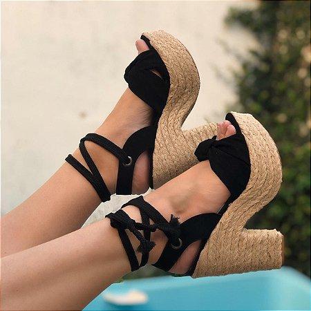 Sandália Preta Amarração