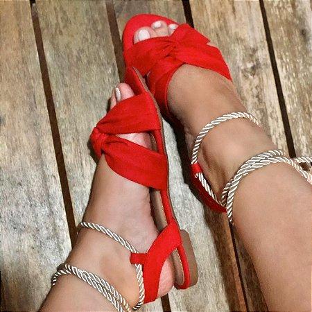 Sandália Vermelha com Amarração