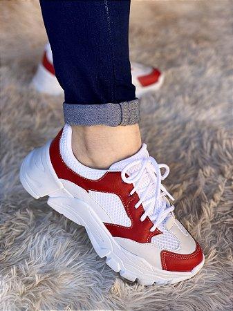 Tênis Sneaker Branco/Vermelho