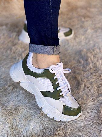 Tênis Sneaker Branco/Verde