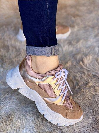 Tênis Sneaker Marrom/Dourado