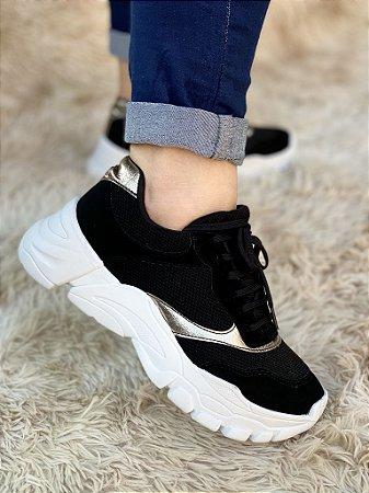 Tênis Sneaker Preto/Gold
