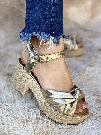 Sandália Ouro Ligth Metalizado Nó