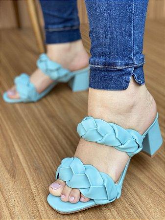 Sandália Salto Bloco Trança Azul Claro