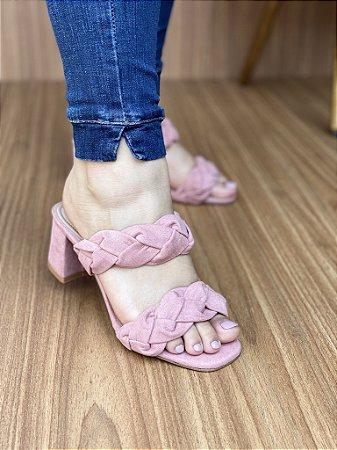 Sandália Salto Bloco Trança Rosa Claro
