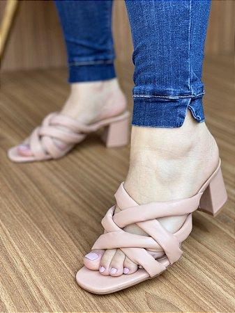 Sandália Salto Bloco Tiras Nude
