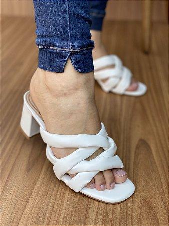 Sandália Salto Bloco Tiras Branco