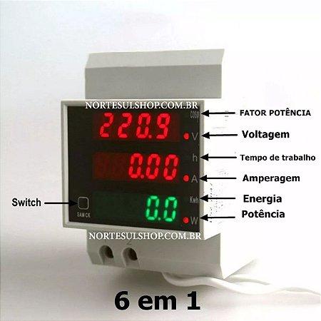 Wattimetro Voltimetro Amperimetro 110v 220v 100a Ac Painel