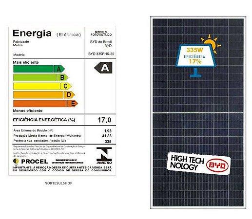 Módulo / painel / placa Solar Fotovoltaica 335w BYD Policristalino