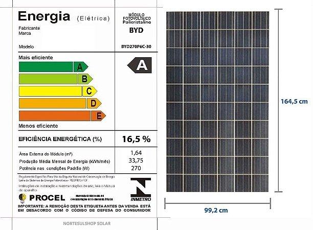 Módulo / painel / placa Solar Fotovoltaica 270w BYD Policristalino