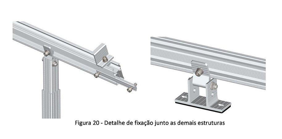 Suporte 02 painéis em alumínio anodizado ajuste de inclinação