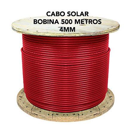 Cabo fotovoltaico Solar 4mm - SOLAR TECH - VERMELHO - Bobina 500 metros