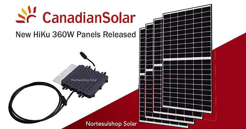 Kit Micro Inversor Deye 1300w + 4 Paineis Canadian 360w + Wifi Monitoramento