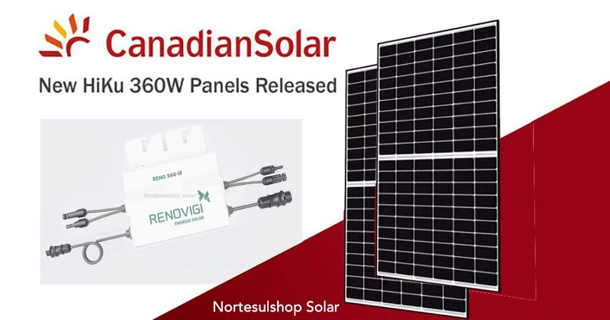 Kit Micro Inversor Reno 560 LV 2 MPPT 127v + 2 Paineis Canadian 360w