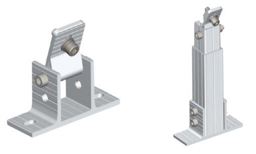 Suporte 04 painéis em alumínio anodizado ajuste de inclinação
