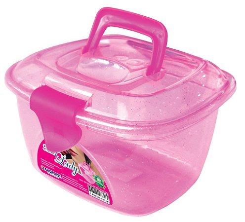 Mini Maleta Maquiagem Glitter Rosa 25678 Arqplast