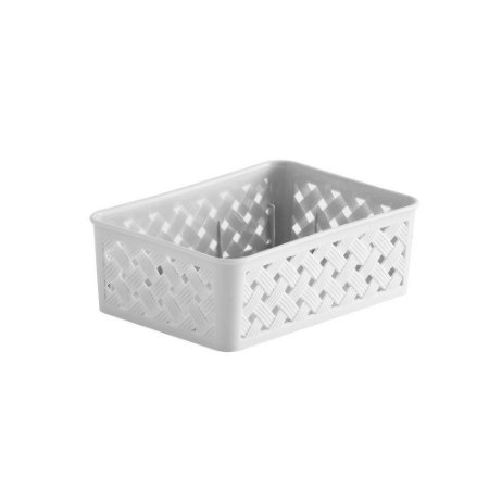 Cesto Caixa Organizadora Rattan 19x13x6,5cm Branco Paramount