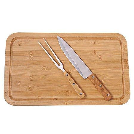 Conjunto Churrasco Bamboo 3 Peças (tábua, garfo, faca) MOR