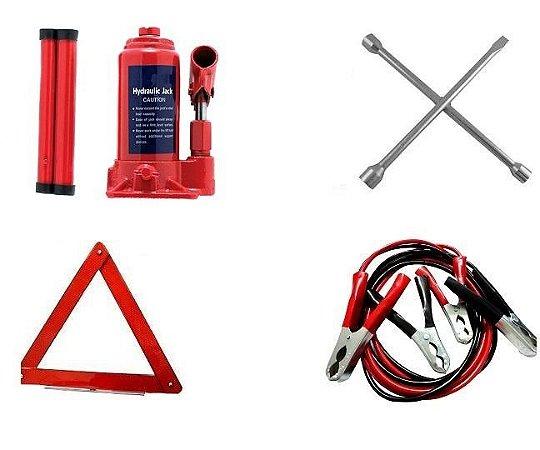 Kit Estepe - Macaco 03 Ton + Triangulo + Chave Roda + Cabo Bateria