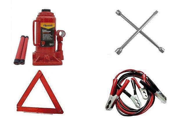 Kit Estepe Macaco Garrafa 10 ton + Triângulo + Chave de Roda + Cabo de Bateria