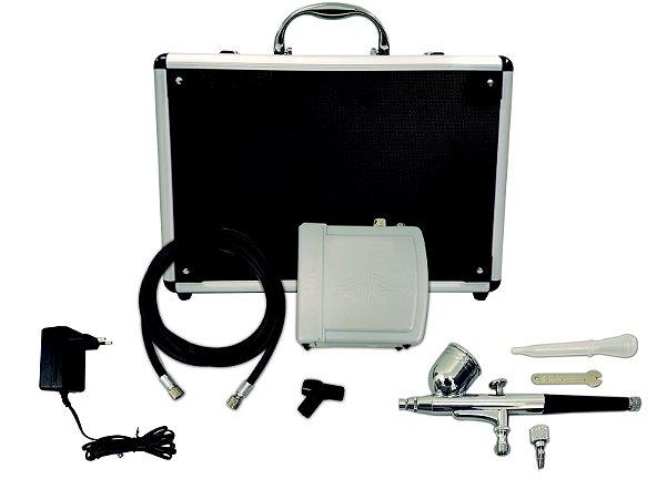 Kit Aerógrafo Profissional Bico 0,3mm + Compressor E Maleta