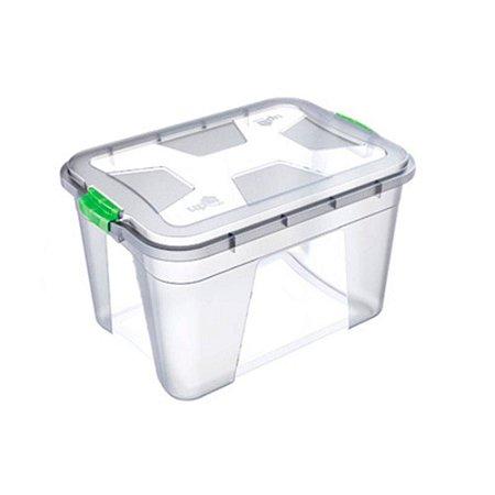 Caixa Organizadora Transparente 56 Litros c/ Travas Coloridas PP Uninjet