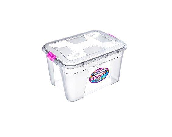 Caixa Organizadora Transparente 12 Litros c/ Travas Coloridas PP Uninjet
