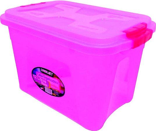 Caixa Organizadora Multiuso 12 Litros Rosa Uninjet