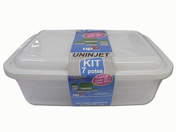 Kit 7 Potes Retangulares P/ Microondas PP Branco Uninjet