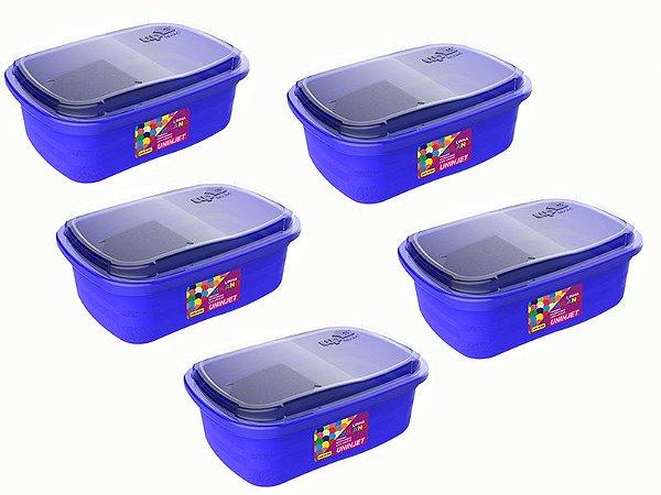 Kit 5 Potes P/ Freezer / Microondas 330 ml PP Azul Uninjet