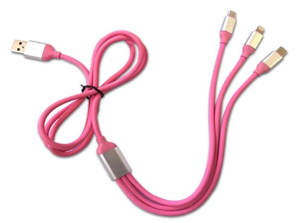 Cabo USB C/ 3 Saídas 1,2mts Várias Cores Est. Paulista