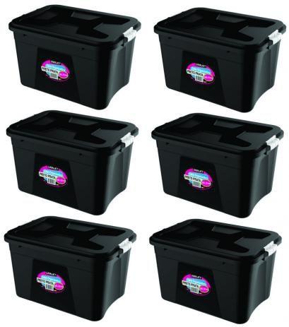 Kit 6 Caixas Organizadoras Várias Cores 56 Litros c/ Trava Uninjet