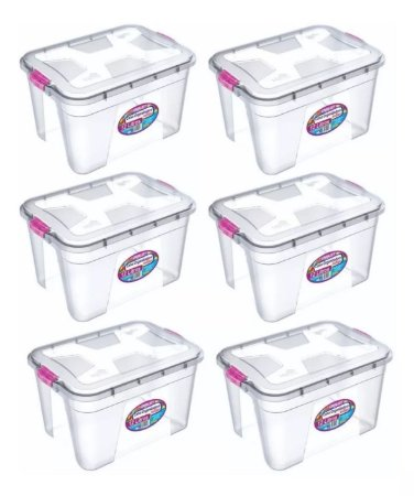 Kit 6 Caixas Organizadoras Transparente 12 Litros - Uninjet
