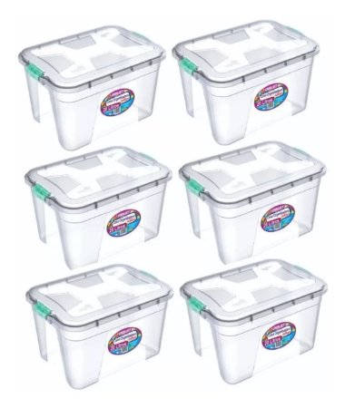 Kit 6 Caixas Organizadoras Transparente 20 Litros - Uninjet