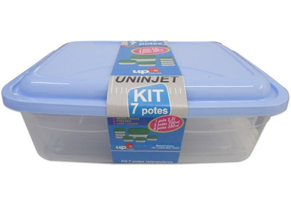 Kit 7 Potes Retangulares P/ Microondas PP Azul Uninjet