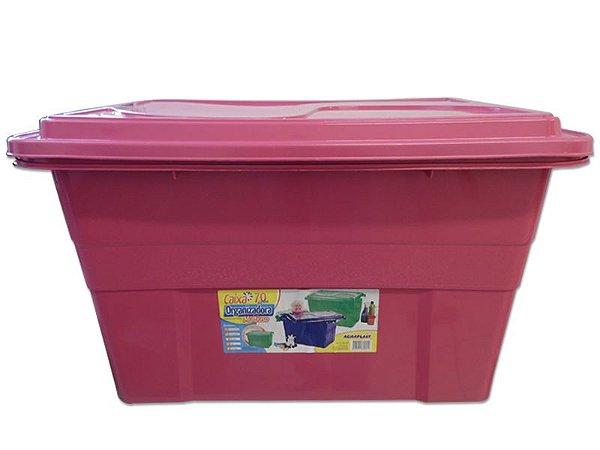 Caixa Organizadora 70 Litros Multiuso Rosa Agraplast