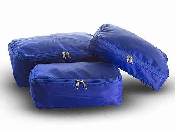 Kit Organizadores de Malas Nylon 3 Peças Azul 511 VB Home