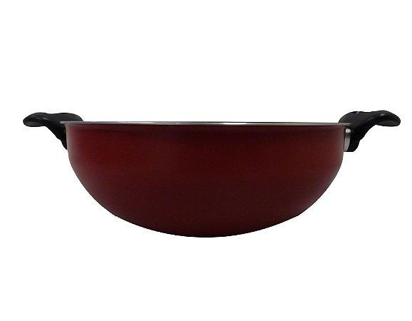 Panela Wok Alumínio 28 cm Vermelho C/alças Dona Chefa
