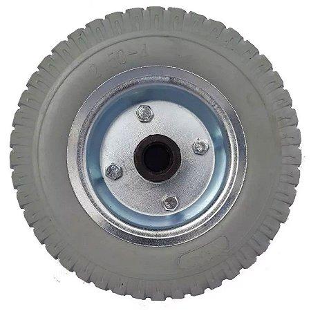 Roda C/ Pneu PU 2.50-4 Cinza - Eixo 3/4 Rol. Rolete AJAX