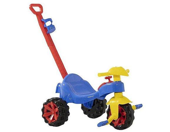 Triciclo Toy Kids Azul 2 em 1 C/ Haste P/ Empurrar 908 Paramount