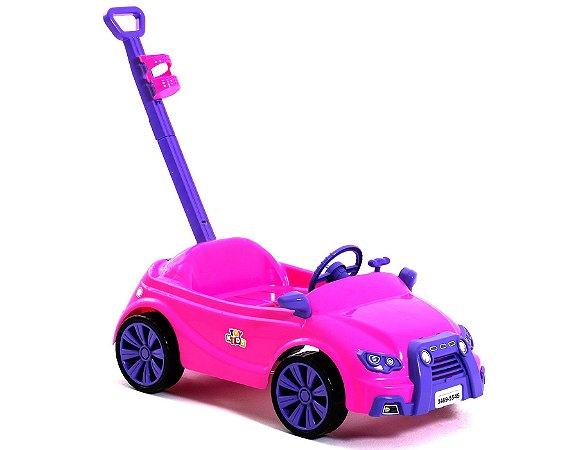 Carro Toy Kids 2 Em 1 Rosa C/ Suporte e Puxador 909 Paramount