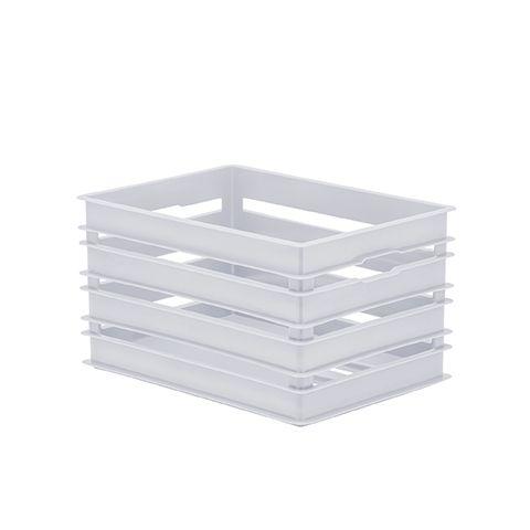 Caixote Organizador Alto de Plástico  Branco Paramount