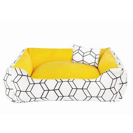Cama de cachorro 60 x 60 Geométrica Amarelo