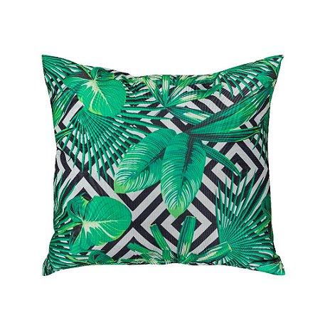 Almofada Decorativa P/ Sofá Lisa Folhas Verde