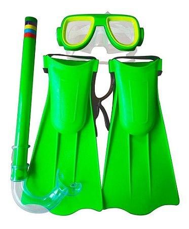 Kit Mergulho Brinquedo Infantil Máscara Snorkel e Pé De Pato Ajustáveis